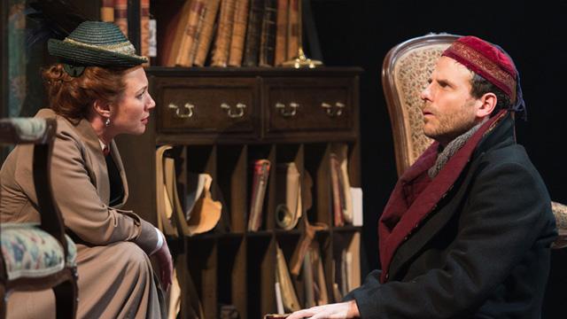 Tanya Franks as Irene Adler and Jason Durr as Holmes. Photographer Manuel Harlan.