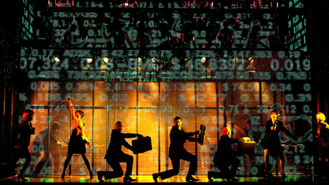 Ensemble surrounded by seven automated LED video walls. Photographer: Sean Ebsworth Barnes.