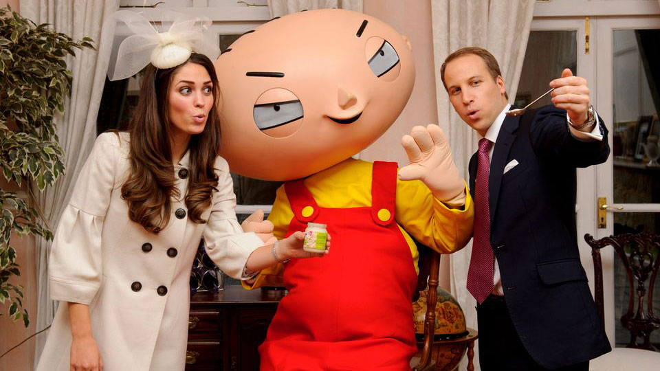Stewie with Kate and Wills