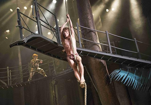 Impressive stunts from Jacob James Beswick as Mowgli. Photographer: Tristram Kenton.