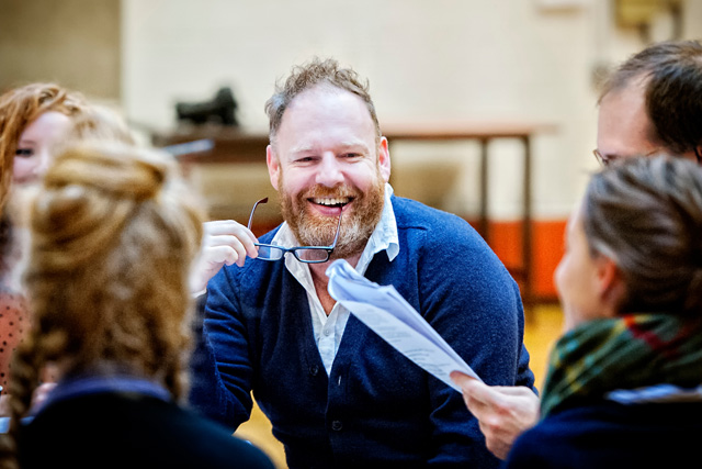 In rehearsal: David Ganly (Vanya) and company. Photographer: Anthony Robling