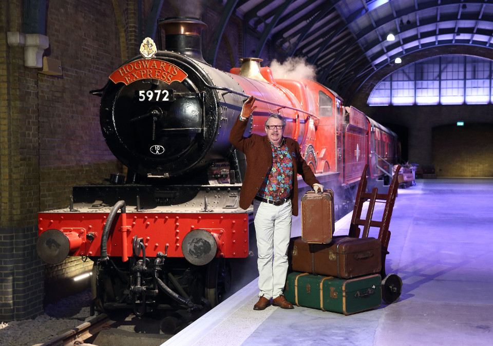 Mark Williams, Mr Weasley in the Harry Potter film series, takes a first sneak peek at the Hogwarts Express steam train at Warner Bros. Studio T (2)