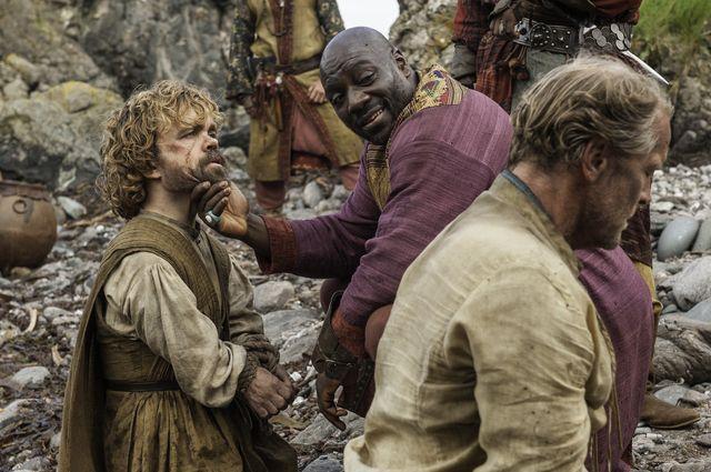 "Episode 6 ""Unbowed, Unbent, Unbroken"" Glen, Iain;Agbaje, Adewale Akinnuoye;Dinklage, Peter as Jorah Mormont;Luther;Tyrion Lannister"