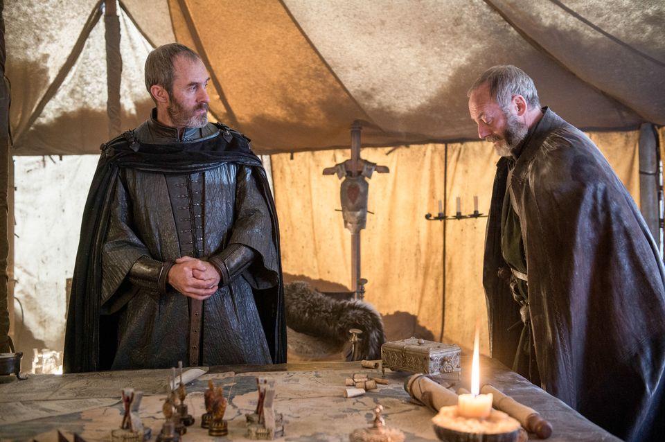 "Episode 7 ""The Gift"". Dillane, Stephen;Cunningham, Liam as Stannis Baratheon;Davos Seaworth"