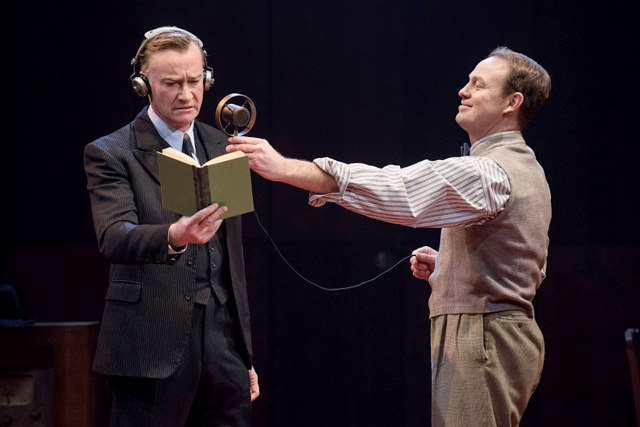 Raymond Coulthard as King George VI with Jason Donovan as Lionel Logue.