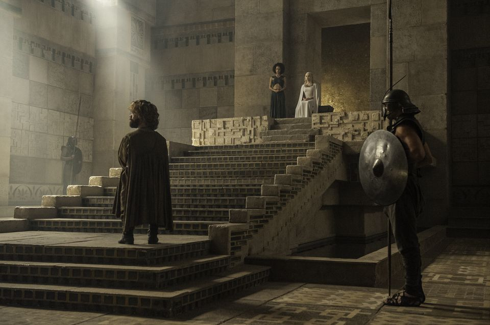 "Games of Thrones, Sky Atlantic, Series 5 Episode 8 ""Hardhome"" Dinklage, Peter;Emmanuel, Nathalie;Clarke, Emilia as Tyrion Lannister;Missandei;Daenerys Targaryen"