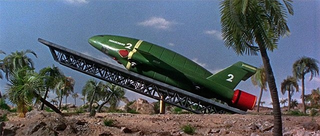Thunderbird 2 launches from Tracy Island in the follow up film, Thunderbird 6 (1967). Photo: Fabulous Films.
