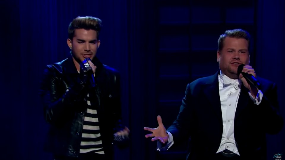 Adam Lambert and James Corden