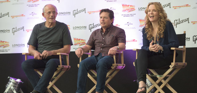 'Back To The Future' Cast members Christopher Lloyd, Michael J. Fox and Lea Thompson at a Press Conference for the movie at The The Olympia London, London, England, UK on Friday 17 July, 2015 to kickstart the London Film and Comic Con 2015.
