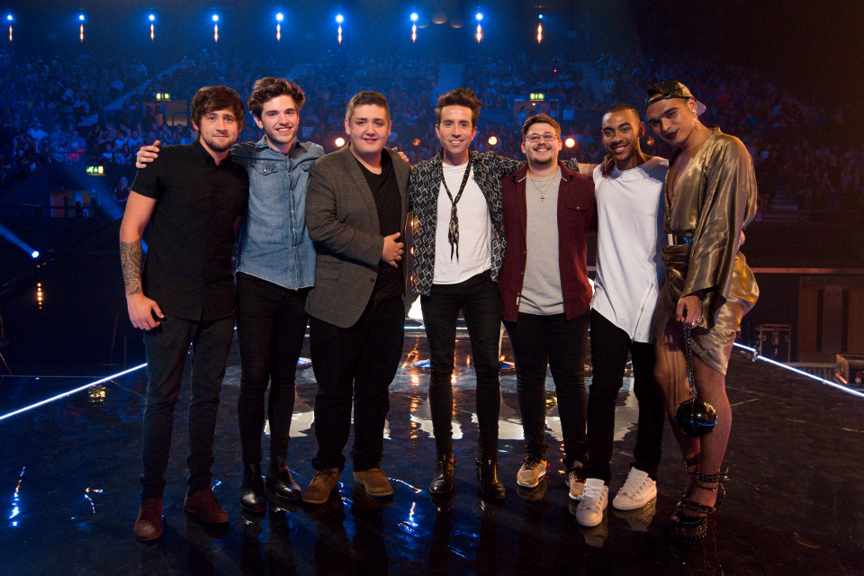 6 Chairs Challenge The X Factor is a Thames/Syco production for ITV. UNDER STRICT EMBARGO UNTIL 21.00 ON SUNDAY 11TH OCTOBER 2015 TX11 NICK GRIMSHAW AND BOYS Picture Shows: BEN CLARKE, SIMON LYNCH, SIMON BLEASBY, JUDGE NICK GRIMSHAW, CHE CHESTERMAN, JOSH DANIEL AND SEAN MILEY MOORE. Television's biggest search for a music star is back as The X Factor returns to ITV, with a new stellar judging panel and a dynamic new presenting duo. The brand new super six sees Simon Cowell, Cheryl Fernandez-Versini, Nick Grimshaw and Rita Ora take their places at the judges' desk, while presenters Olly Murs and Caroline Flack will be guiding the search to find a potential pop star with an amazing voice and that extra special something. ©Thames/Syco/Fremantle Media
