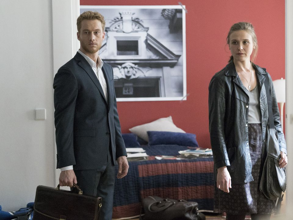 Credit: Stephan Rabold/SHOWTIME -Alexander Fehling as Jonas and Sarah Sokolovic as Laura Sutton in Homeland