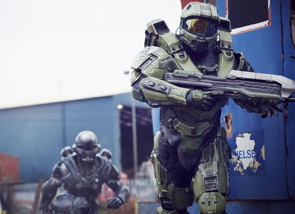 IMAGE 1 Halo's iconic lead character, The Master Chief, landed with a bang by The O2 this morning, to mark the launch of Halo 5 Guardians on Xbox One on Oct. 27