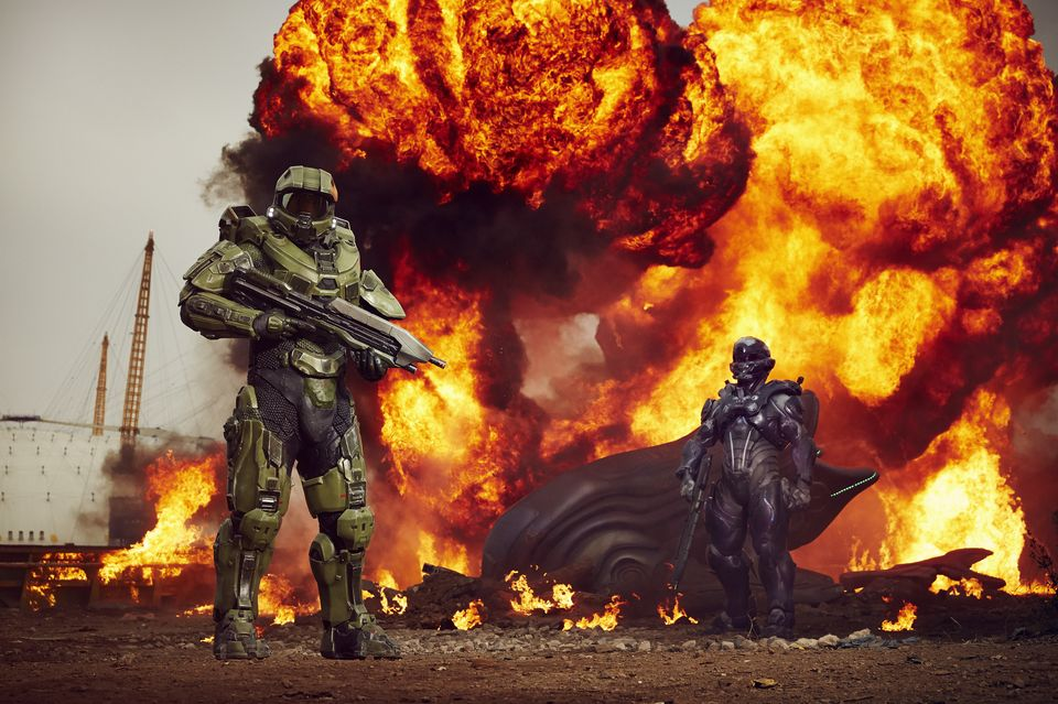 IMAGE 2 Halo's iconic lead character, The Master Chief, landed with a bang by The O2 this morning, to mark the launch of Halo 5 Guardians on Xbox One on Oct. 27