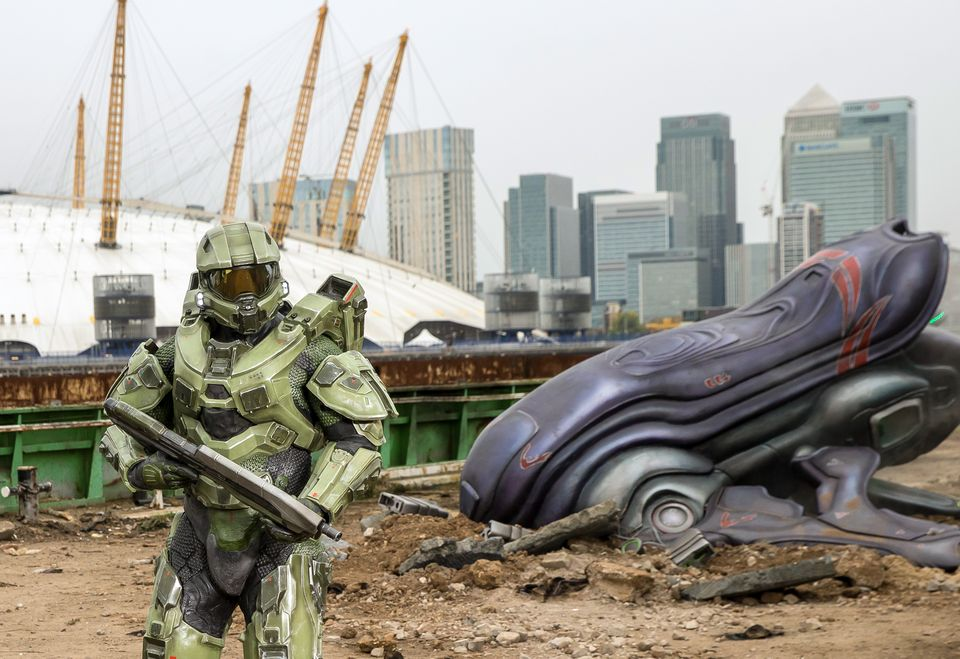 IMAGE 5 Halo's iconic lead character, The Master Chief, landed with a bang by The O2 this morning, to mark the launch of Halo 5 Guardians on Xbox One on Oct. 27