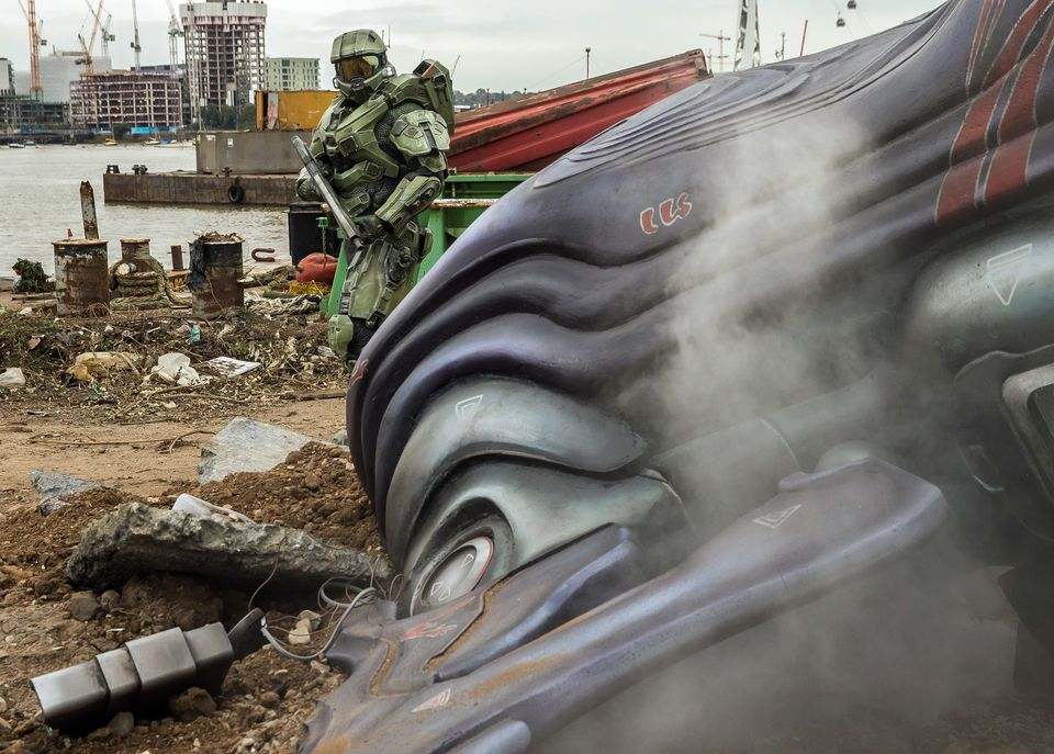IMAGE 6 Halo's iconic lead character, The Master Chief, landed with a bang by The O2 this morning, to mark the launch of Halo 5 Guardians on Xbox One on Oct. 27