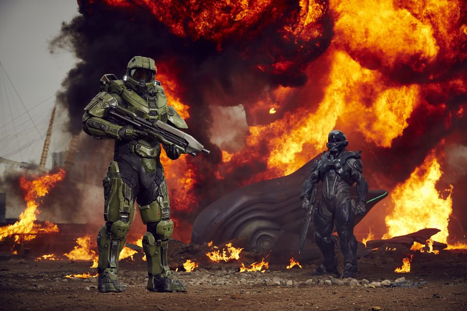 IMAGE 7 Halo's iconic lead character, The Master Chief, landed with a bang by The O2 this morning, to mark the launch of Halo 5 Guardians on Xbox One on Oct. 27