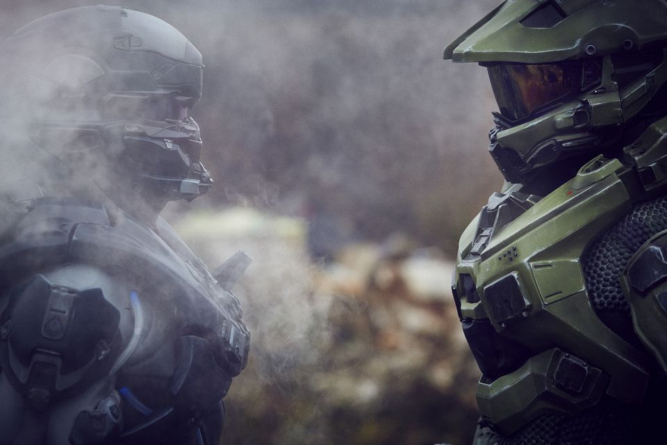 IMAGE 8 Halo's iconic lead character, The Master Chief, landed with a bang by The O2 this morning, to mark the launch of Halo 5 Guardians on Xbox One on Oct. 27