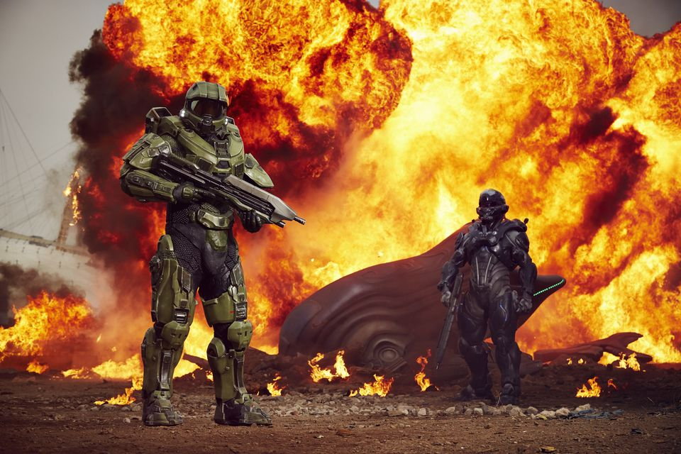 IMAGE.2 Halo's iconic lead character, The Master Chief, landed with a bang by The O2 this morning, to mark the launch of Halo 5 Guardians on Xbox One on Oct. 27