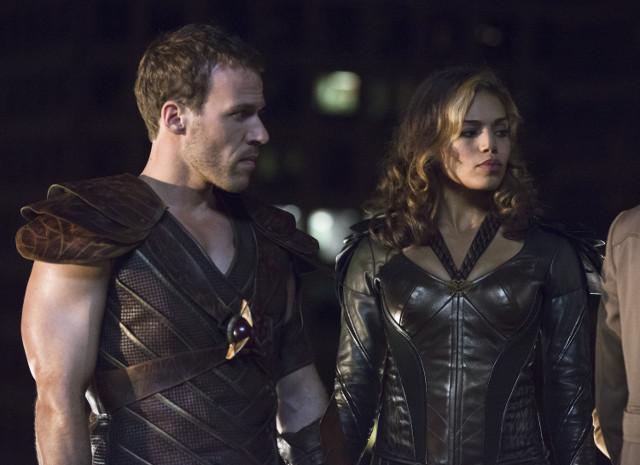 Falk Hentschel as Hawkman and Ciara Renee as Hawkgirl.