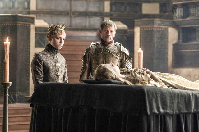 Dean-Charles Chapman as King Tommen Baratheon, Nikolaj Coster-Waldau as Jaime Lannister and Nell Tiger Free as Myrcella Baratheon – photo Helen Sloan/HBO