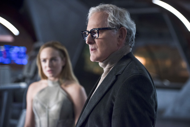 Caity Lotz as Sara Lance / White Canary and Victor Garber as Dr. Martin Stein.