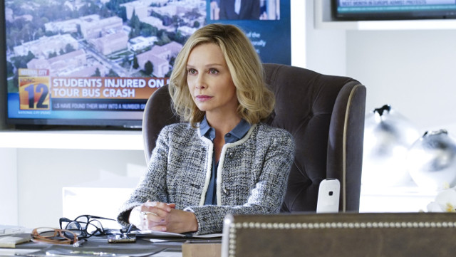 "Calista Flockhart as Cat Grant.Supergirl 1, ep. 12 ""Bizarro"""