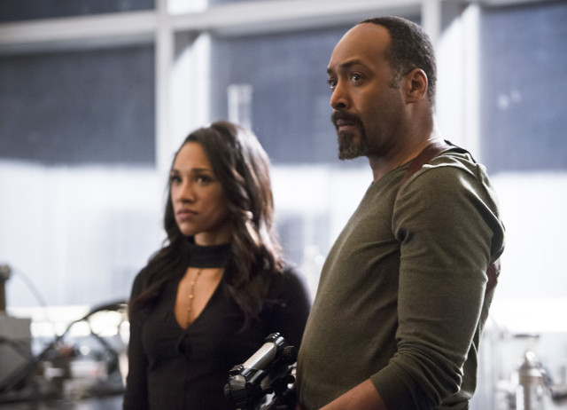 Candice Patton as Iris West and Jesse L. Martin as Detective Joe West.