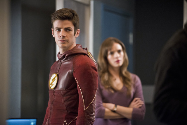 Grant Gustin as Barry Allen / The Flash and Danielle Panabaker as Caitlin Snow.