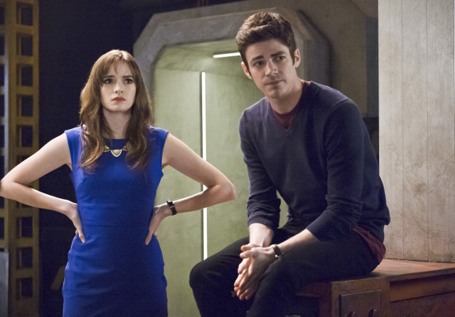 Danielle Panabaker as Caitlin Snow and Grant Gustin as Barry Allen.