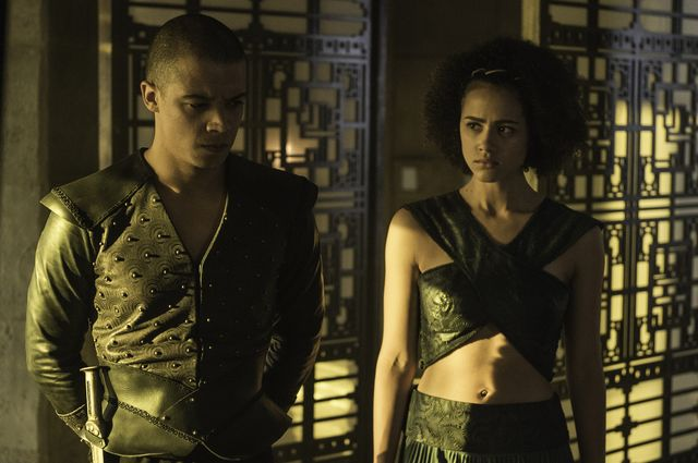 © HBO - Jacob Anderson as Grey Worm, Nathalie Emmanuel as Missandei