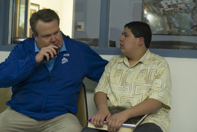 """(L-R): Cameron (Eric Stonestreet) and Manny (Rico Rodriguez) in """"Promposal."""""""