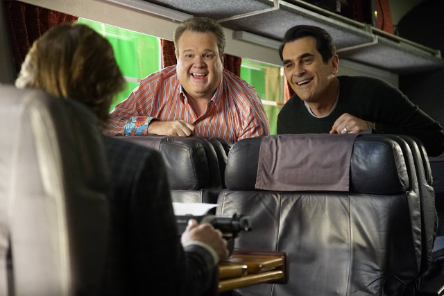 "(L-R): Cameron (Eric Stonestreet) and Phil (Ty Burrell) in ""Crazy Train."""