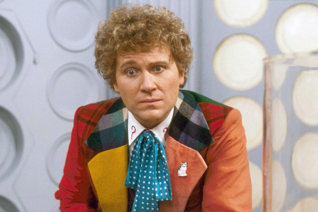 Colin Baker as the Sixth incarnation. Bright colours mask a darker Doctor. Photo: BBC.
