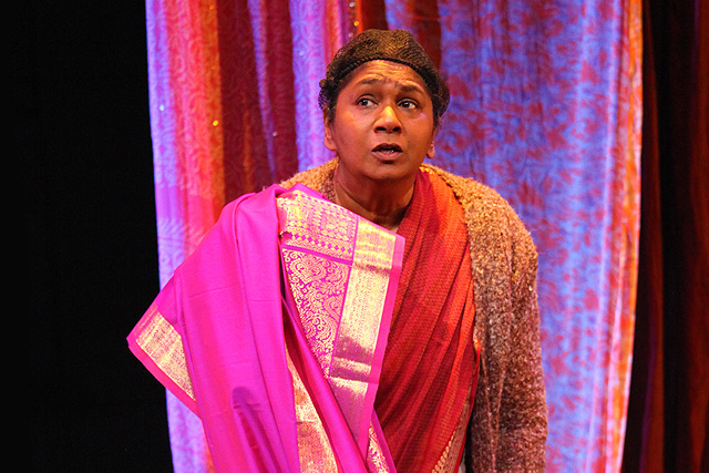 Rani Moorthy in her one-woman show, Whose Sari Now? Image: Rasa Productions Ltd.