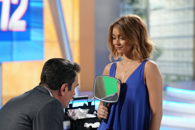 """(L-R): Jay (Ty Burrell) and Haley (Sarah Hyland) in """"Weathering Heights."""""""