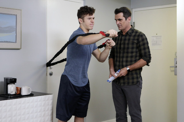 """(L-R): Luke (Nolan Gould) and Phil (Ty Burrell) in """"Sarge & Pea."""""""