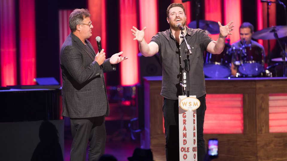 Vince Gill and Chris Young at the Grand Ole Opry