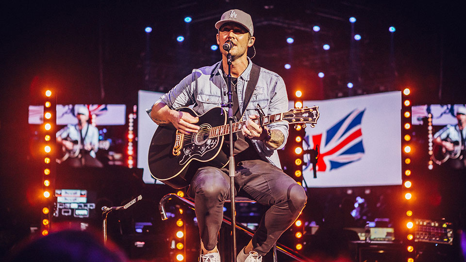 Brett Young performing on the Spotlight Stage at C2C