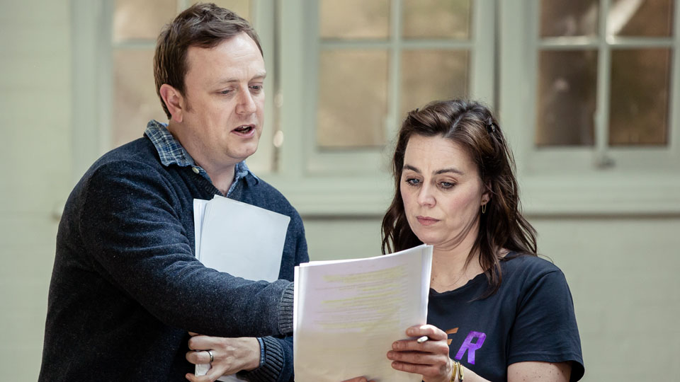 Adapter Duncan Abel and Jill Halfpenny in rehearsals for The Girl on the Train. Credit Richard Davenport