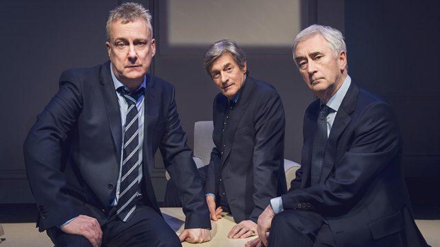 Stephen Tompkinson, Nigel Havers & Denis Lawson in Art. Credit Matt Crockett.