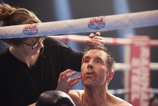 Nadia Stacey and Paddy Considine on the set of JOURNEYMAN