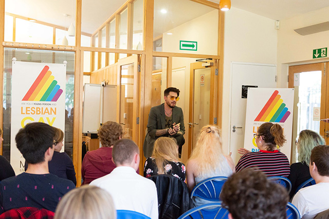 Adam Lambert speaking at Mosaic in London