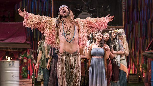 Jake Quickenden (Berger) and the cast of Hair The Musical. Credit Johan Persson.