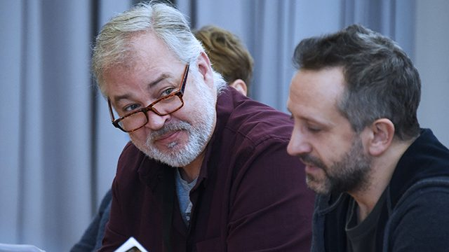 In rehearsal: Mat Rixon and Robin Simpson. Credit: Nobby Clark