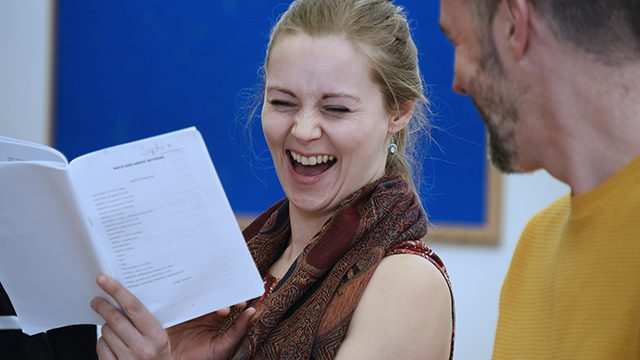 In rehearsal: Sophia Hatfield in Much Ado About Nothing. Credit: Nobby Clark
