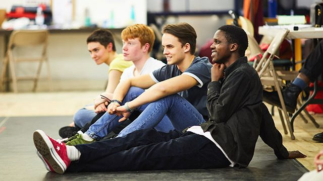 Mae Milburn, Daniel Scott, Jake Wilson and Mercedi Diabiza in rehearsals for Hamlet. Credit: David Lindsay.