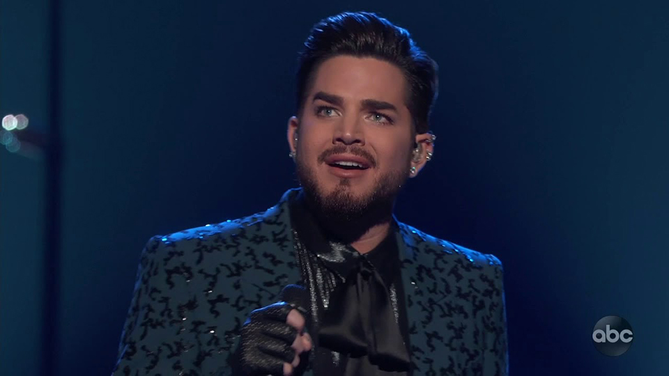 Adam Lambert performing at the Oscars
