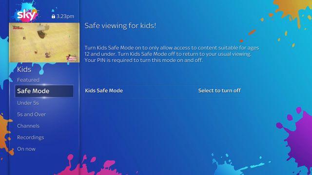 Sky Q - Kids Safe Mode