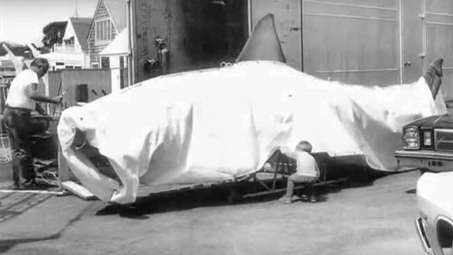 Ian Shaw takes a peek at Bruce the shark on set for JAWS in 1974. Credit Ian Shaw.