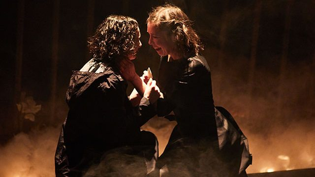 Simona Bitmate (Ophelia) and Tessa Parr (Hamlet) in Hamlet at Leeds Playhouse. Photography by David Lindsay